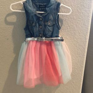 Girls Denim and tulle dress